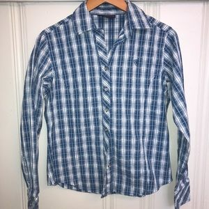Women's Ariat blue check button down